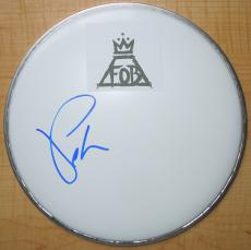 Pete Wentz Signed - Autographed Drum Head with Fall Out Boy logo sticker - FOB Guitarist