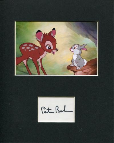 Peter Behn Disney Bambi Thumper Voice Signed Autograph Photo Display
