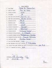 Peter Benchley Hand Signed+filled Out 20 Questions         Jaws Author      Hof