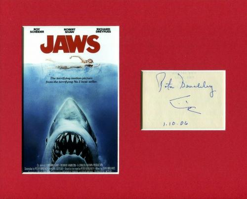 Peter Benchley Jaws Author Rare Signed Autograph Photo Display With Shark Sketch