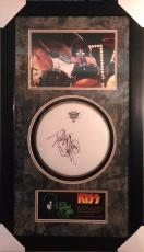 PETER CRISS (KISS) signed/custom framed drumhead display-JSA K50114