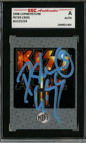 Peter Criss Signed 1998 Cornerstone Kiss Alive Iii Trading Card #175 Sgc Slabbed