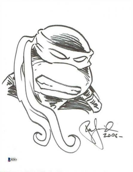 Peter Laird Ninja Turtles Autographed Signed 11x14 Sketch Certified BAS COA