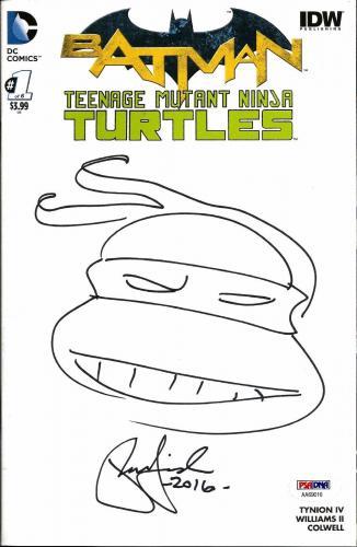 Peter Laird TEENAGE MUTANT NINJA TURTLES BATMAN Signed Sketch Comic PSA/DNA (B)