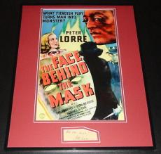 Peter Lorre Signed Framed 16x20 Photo Poster Display Face Behind the Mask JSA