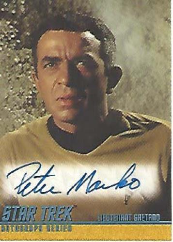 """PETER MARKO as LIETENANT GAETANO in """"THE GALILEO SEVEN"""" on """"STAR TREK"""" (Passed Away 1991) Signed 2004 PARAMOUNT PICTURES CARD"""