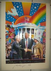 Peter Max White House Bill Clinton Signed Autographed 23x31 Poster Jsa Loa