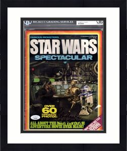 "PETER MAYHEW, ANTHONY DANIELS & KENNY BAKER Signed ""STAR WARS"" Magazine BAS Slab"