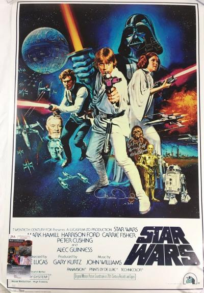 Peter Mayhew/ Dave Prowse/ Anthony Daniels Signed Star Wars Fullsize Poster JSA