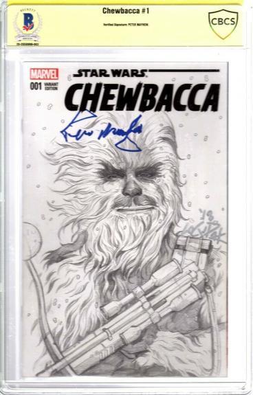 "PETER MAYHEW Signed ""CHEWBACCA"" Star Wars Comic Book w/ Original Sketch BAS CBCS"