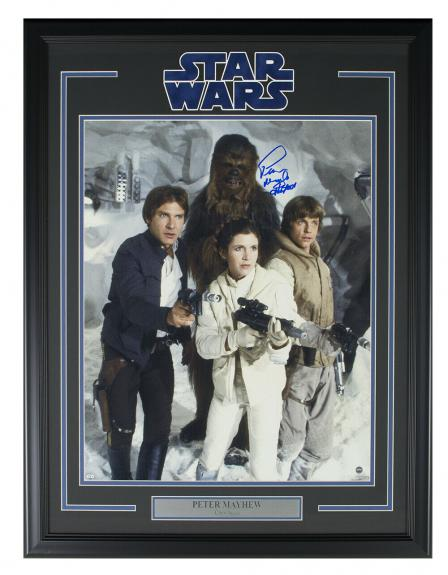 Peter Mayhew Signed Framed Star Wars Empire Strikes Back 16x20 Photo Steiner