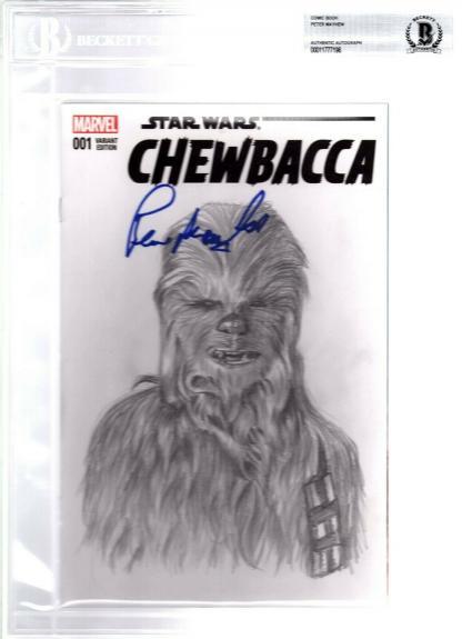 "PETER MAYHEW Signed Star Wars ""CHEWBACCA"" Comic Book w/ Original Sketch BAS Slab"