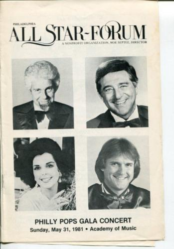 Peter Nero Robert Merrill Ann Miller Tug McGraw Philly Pops Gala 1981 Playbill
