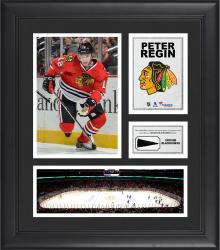 """Peter Regin Chicago Blackhawks Framed 15"""" x 17"""" Collage with Piece of Game-Used Puck"""