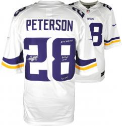 Adrian Peterson Minnesota Vikings Autographed White Nike Limited Jersey with Multiple Inscriptions - Mounted Memories