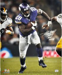 "Adrian Peterson Minnesota Vikings Autographed 16"" x 20"" Run vs Pittsburgh Steelers Photograph with Skol Vikings Inscription"