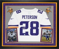 Adrian Peterson Autographed Vikings Nike Limited Jersey with Multiple Inscriptions - Deluxe Framed