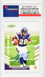 Adrian Peterson Minnesota Vikings Autographed 2007 Score #341 Rookie Card  - Mounted Memories
