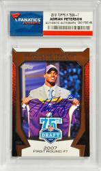 Adrian Peterson Minnesota Vikings Autographed 2010 Topps #75DA-7 Card