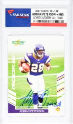 Adrian Peterson Minnesota Vikings Autographed 2007 Score #341 Rookie Card with 2097 YDS. Inscription - Mounted Memories