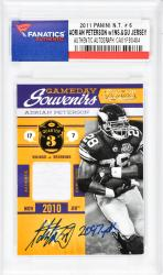 Adrian Peterson Minnesota Vikings Autographed 2011 Panini N.T.#6 Card with 2097 YDS. Inscription - Mounted Memories  - Mounted Memories