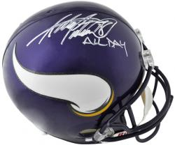 Riddell Adrian Peterson Minnesota Vikings Autographed Replica Helmet with ''All Day'' Inscription - Mounted Memories