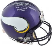 Riddell Adrian Peterson Minnesota Vikings Autographed Pro Line Authentic Helmet with ''All Day/NFL MVP/2097 Yds'' Inscription - Mounted Memories