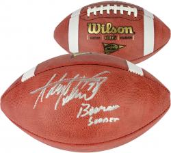 "Adrian Peterson Oklahoma Sooners Autographed NCAA Football with ""Boomer Sooner"" Inscription - Mounted Memories"