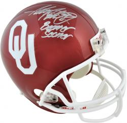 "Adrian Peterson Oklahoma Sooners Autographed Riddell Replica Helmet with ""Boomer Sooner"" Inscription - Mounted Memories"