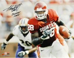 "Adrian Peterson Oklahoma Sooners Autographed 16"" x 20"" Horizontal Photograph with Boomer Sooner Inscription"