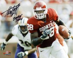 Adrian Peterson Oklahoma Sooners Autographed 8'' x 10'' Horizontal Photograph with Boomer Sooner Inscription - Mounted Memories