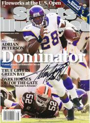 Adrian Peterson Minnesota Vikings Autographed Dominator Sports Illustrated Magazine - Mounted Memories