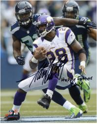 "Adrian Peterson Minnesota Vikings Autographed 8"" x 10"" Photograph with ""Happy Father's Day"" Inscription"