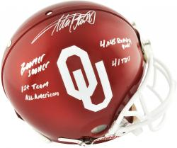 Adrian Peterson Oklahoma Sooners Autographed Riddell Pro Line Authentic Helmet with Multiple Inscriptions-Limited Edition of 28 - Mounted Memories