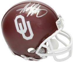 Adrian Peterson Oklahoma Sooners Autographed Mini Helmet - Mounted Memories