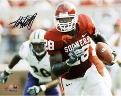 "Adrian Peterson Oklahoma Sooners Autographed 8"" x 10"" Horizontal Crimson Uniform Photograph"