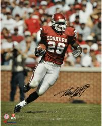 Adrian Peterson Oklahoma Sooners Autographed 16'' x 20'' Vertical Red Uniform Photograph - Mounted Memories