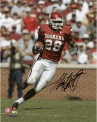 Adrian Peterson Oklahoma Sooners Autographed 8'' x 10'' Vertical Crimson Uniform Photograph - Mounted Memories
