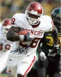 Adrian Peterson Oklahoma Sooners Autographed 8'' x 10'' Vertical White Uniform Photograph - Mounted Memories