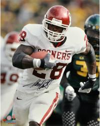 Adrian Peterson Oklahoma Sooners Autographed 16'' x 20'' Vertical White Uniform Photograph - Mounted Memories