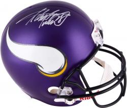 Adrian Peterson Minnesota Vikings Autographed Riddell Replica New Logo Helmet - Mounted Memories