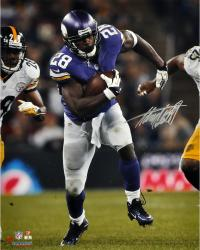 "Adrian Peterson Minnesota Vikings Autographed 16"" x 20"" Running vs Pittsburgh Steelers Photograph"