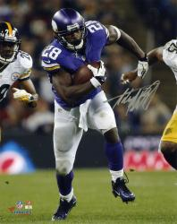 Adrian Peterson Minnesota Vikings Autographed 8'' x 10'' Running vs Pittsburgh Steelers Photograph - Mounted Memories