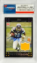 Adrian Peterson Minnesota Vikings Autographed 2007 Topps #3 Card with Piece of Game-Worn Jersey - Mounted Memories