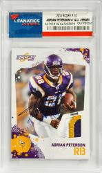 Adrian Peterson Minnesota Vikings Autographed 2010 Score #14 Card with Piece of Game-Worn Jersey - Mounted Memories