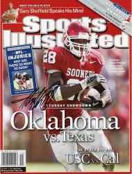 Adrian Peterson Oklahoma Sooners Autographed Oklahoma Sooners vs Texas Longhorns Sports Illustrated Magazine with No Label - Mounted Memories