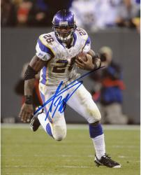 Adrian Peterson Minnesota Vikings Autographed 8'' x 10'' Running with Ball In One Hand Photograph - Mounted Memories