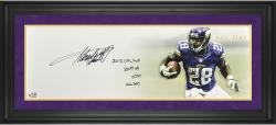 "Adrian Peterson Minnesota Vikings Framed Autographed 10"" x 30"" All Day Photograph with Multiple Inscriptions-Limited Edition of 28"