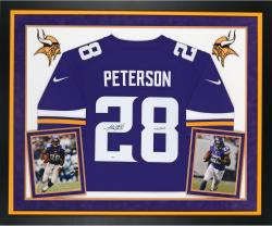 "Adrian Peterson Autographed Vikings Limited Jersey - ""AD"" Inscribed, Deluxe Framed"