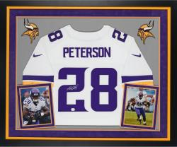 Adrian Peterson Autographed Vikings Elite Jersey - Deluxe Framed